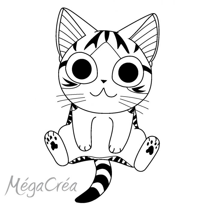 Coloriage Chat Chi.Coloriage Chi Vie Chat Bw Besties Cat Drawing Silhouette