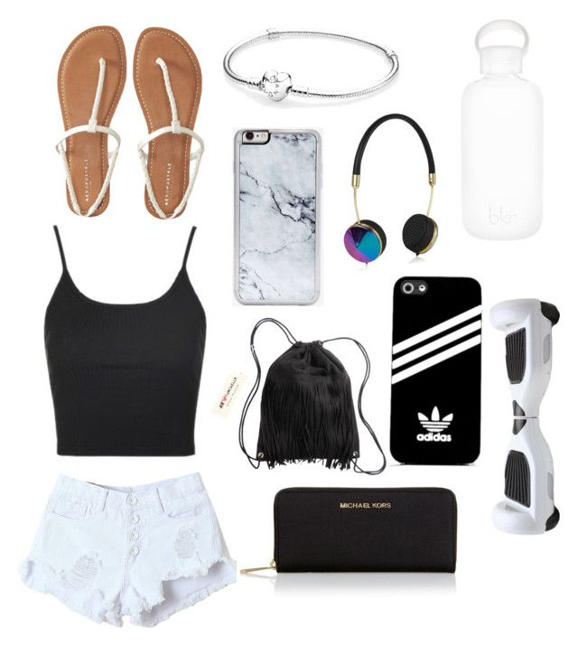 """""""Black⚫️White⚪️"""" by r3b3ccaxx ❤ liked on Polyvore featuring Topshop, Aéropostale, Pandora, bkr, Zero Gravity, H&M, Frends, MICHAEL Michael Kors and adidas"""