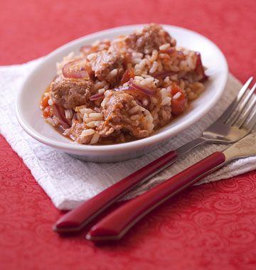 Riz express à la chair à saucisse et tomates