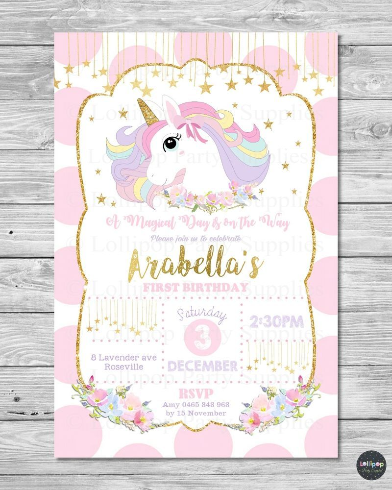 UNICORN INVITATION INVITE 1ST FIRST BIRTHDAY CARD PINK GOLD RAINBOW PARTY PASTEL