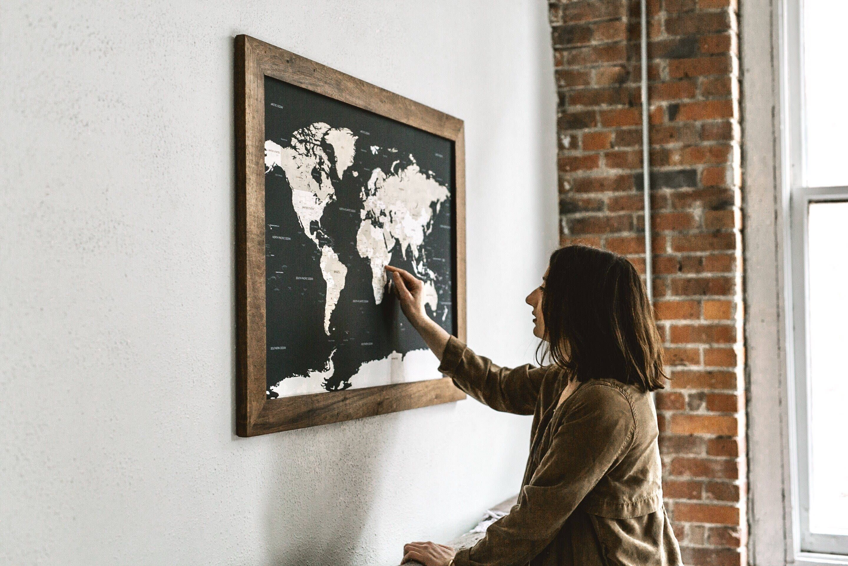 Push pin travel map world map gift for travelers world map push pin travel map world map gift for travelers world map wedding world push pin map 24x36 gifts for boyfriend gift for men by wayfaren on etsy gumiabroncs Gallery