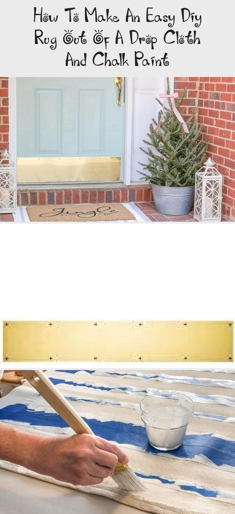 Easy DIY rug made from drop cloth fabric and painted with