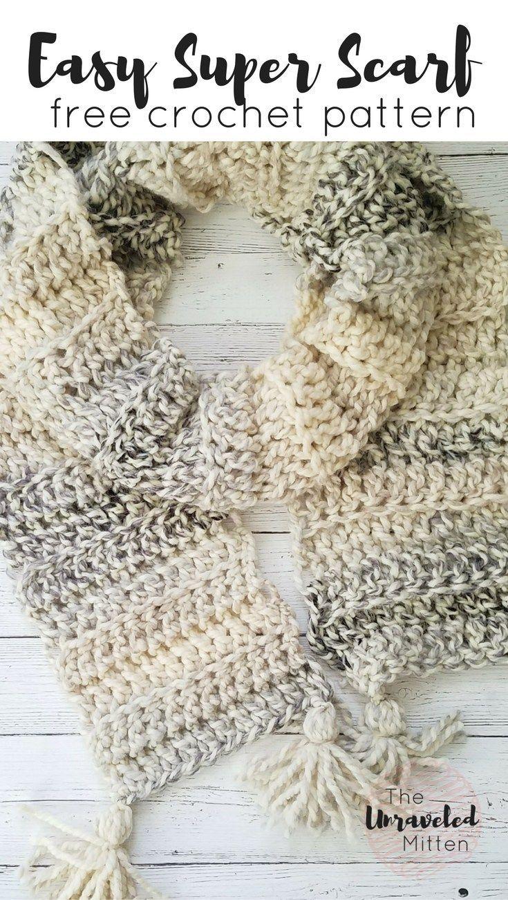 Easy Crochet Super Scarf Free Crochet Pattern | Tejido