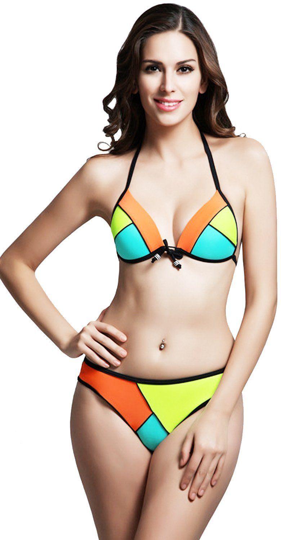 44be51a5f9 Womens Push up Bright Bikini Set Padded Swimsuit Swimwear Triangle Diving  Suit (US Mint Green+ Orange)