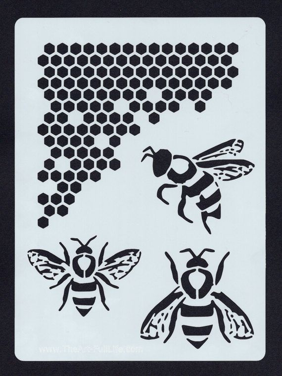 Bee and Honeycomb Stencil Nature 002 by TheArtFullLife on Etsy ...