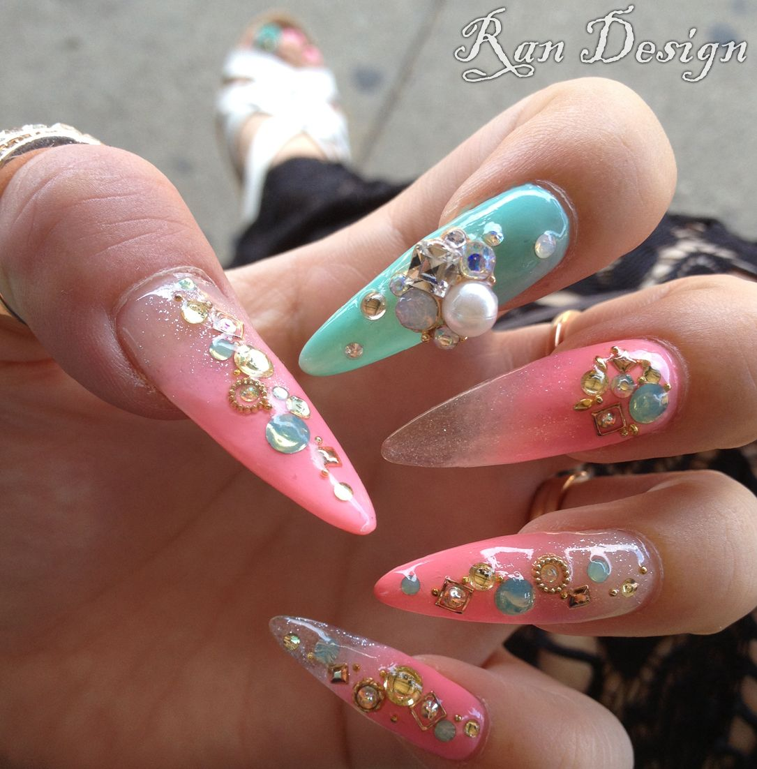 Tiffany Blue and Coral Stiletto Nails With Gold Embellishments and ...