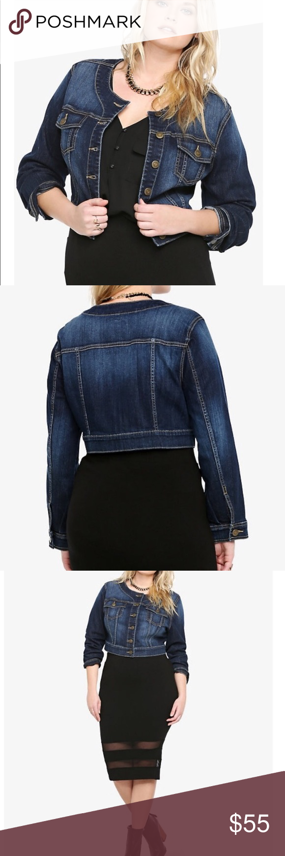 17b1879a380cb Torrid crop denim jacket Torrid size 2 Dark wash denim jacket Cropped and  no collar Great condition Approx measurements when flat Pit to pit 23