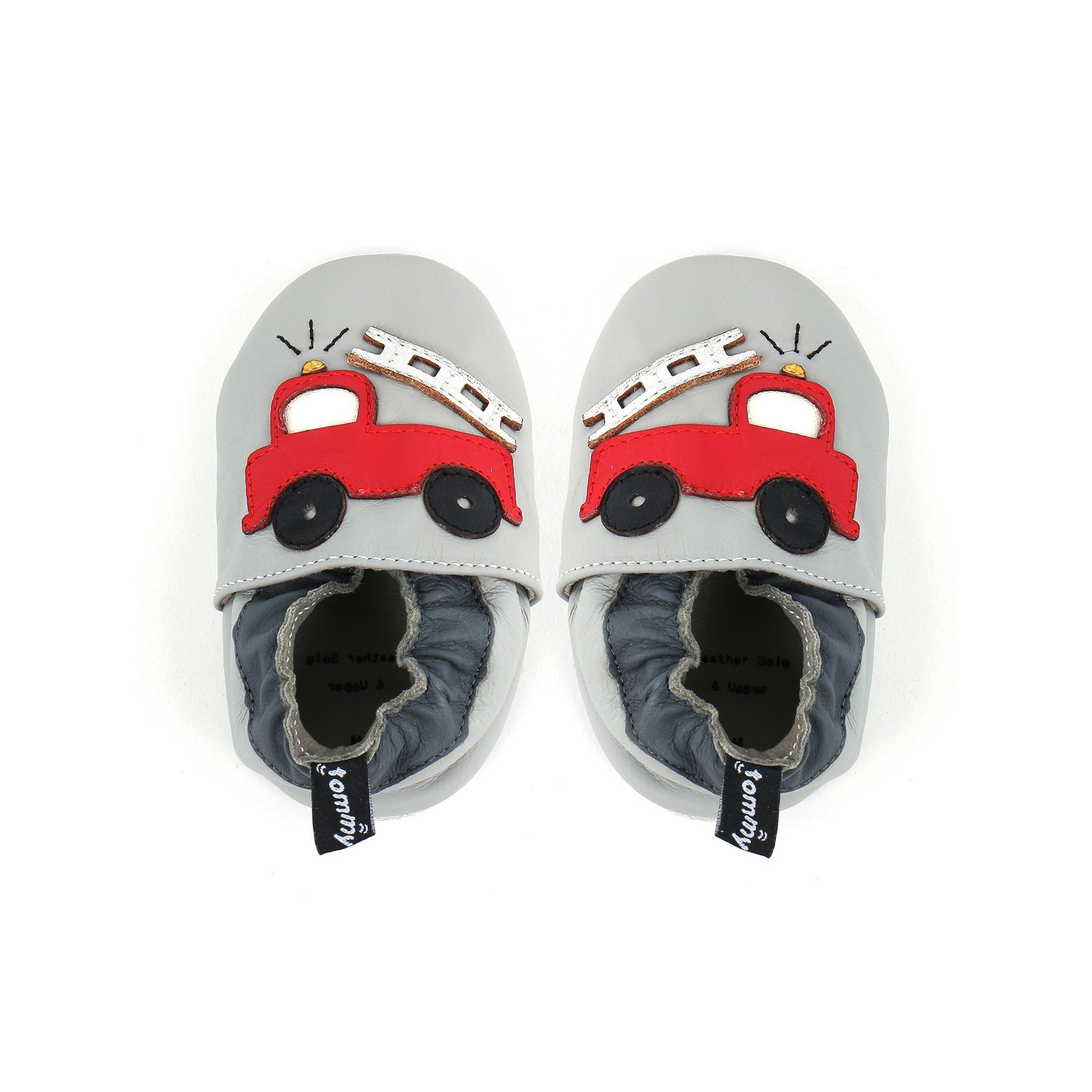 Tommy Tickle Baby Boy Fire Truck Crib Shoes Size 0 6 Months Grey