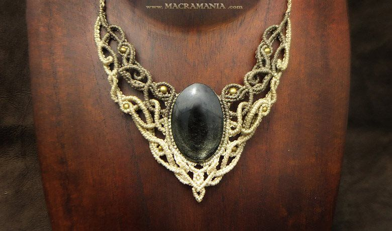 Silver Obsidian necklace by Macramania