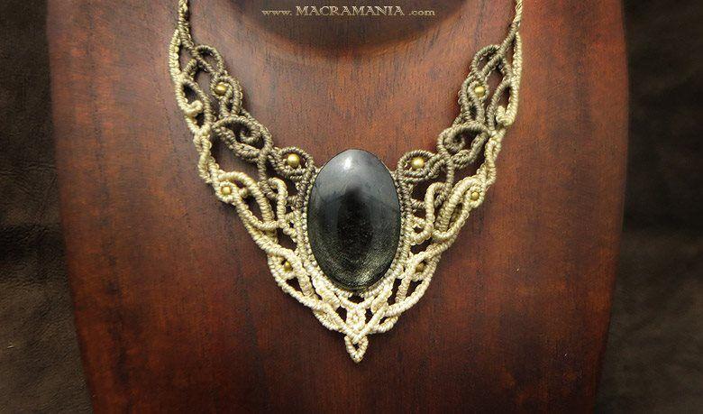 Silver Obsidian necklace by Macramania