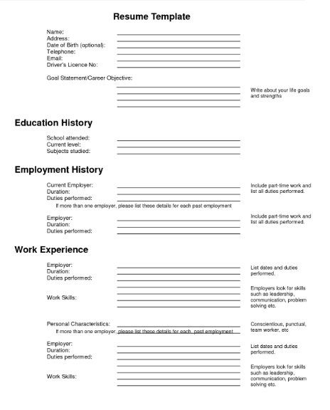 Fill In Resume Template Free  HttpGetresumetemplateInfo