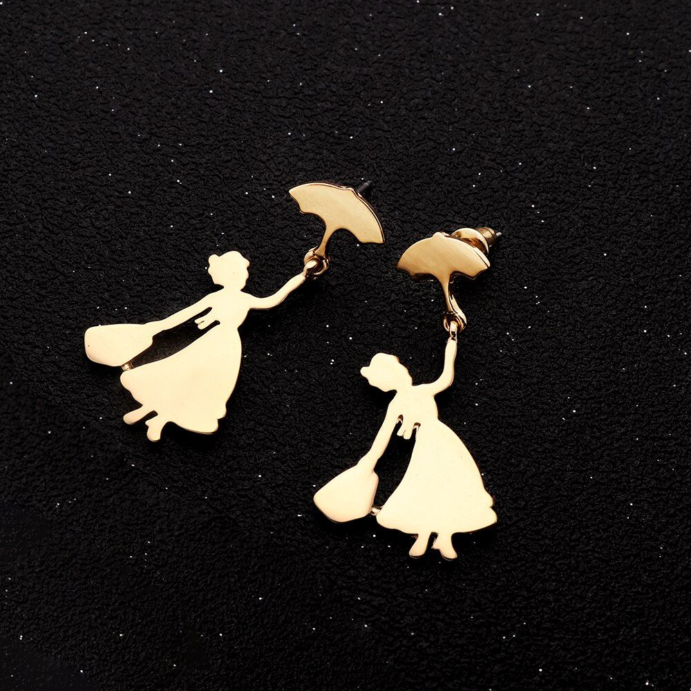 Hanreshe Earring Cute Umbrella Statement Earrings Wedding Party Jewelry Women Gold Silver Stud Earrings Women Metal Color Gold-color