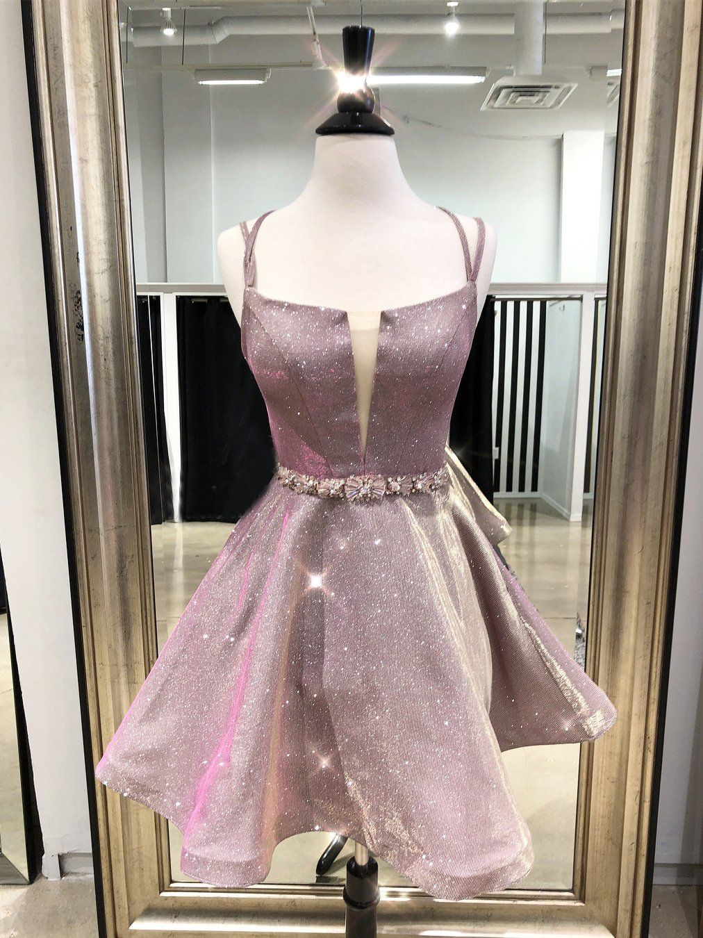 Aline straps pink homecoming dress sparkly cute short prom dresses