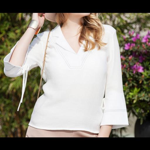 بلوزة ابيض ياقة قصة السبعة العصرية Women S Top Fashion Bell Sleeve Top