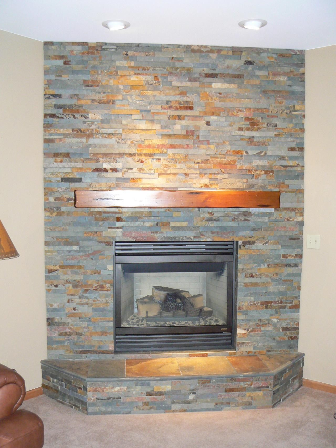 Stacked Stone Fireplace Surround slate fireplace surround | on the level home remodeling, llc