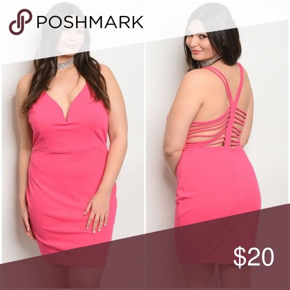 Fuchsia Plus Size Dress Plus size spaghetti strap plunging neckline ...