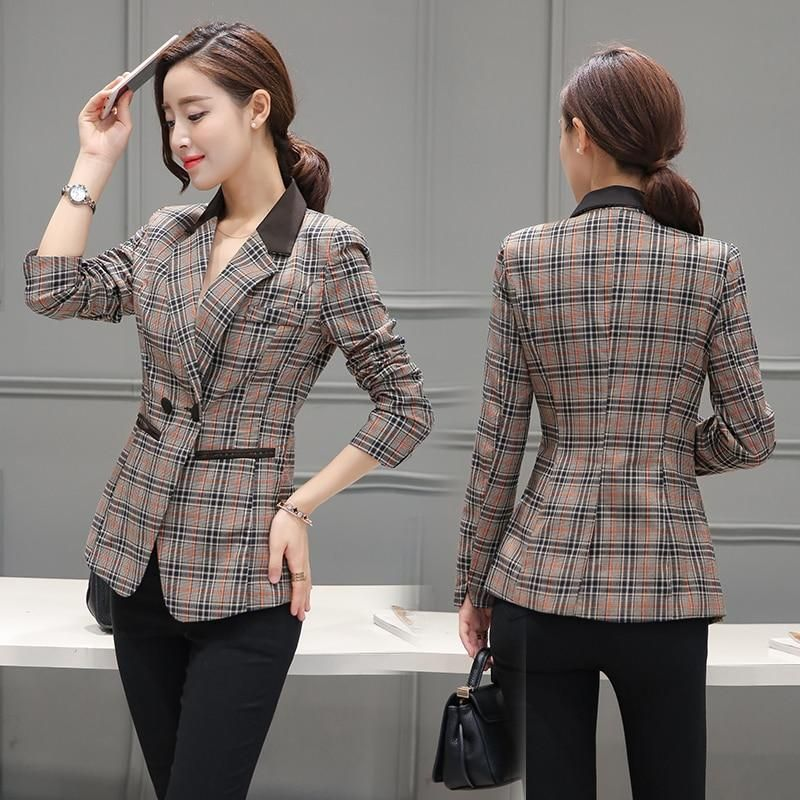 8c722b7d98c New Women s Plaid Split Roll Up Sleeve Double Breasted Patchwork Blazer  Office Lady Elegant Fashion Tops M-3XL Plus Size-JetSet-JetSet