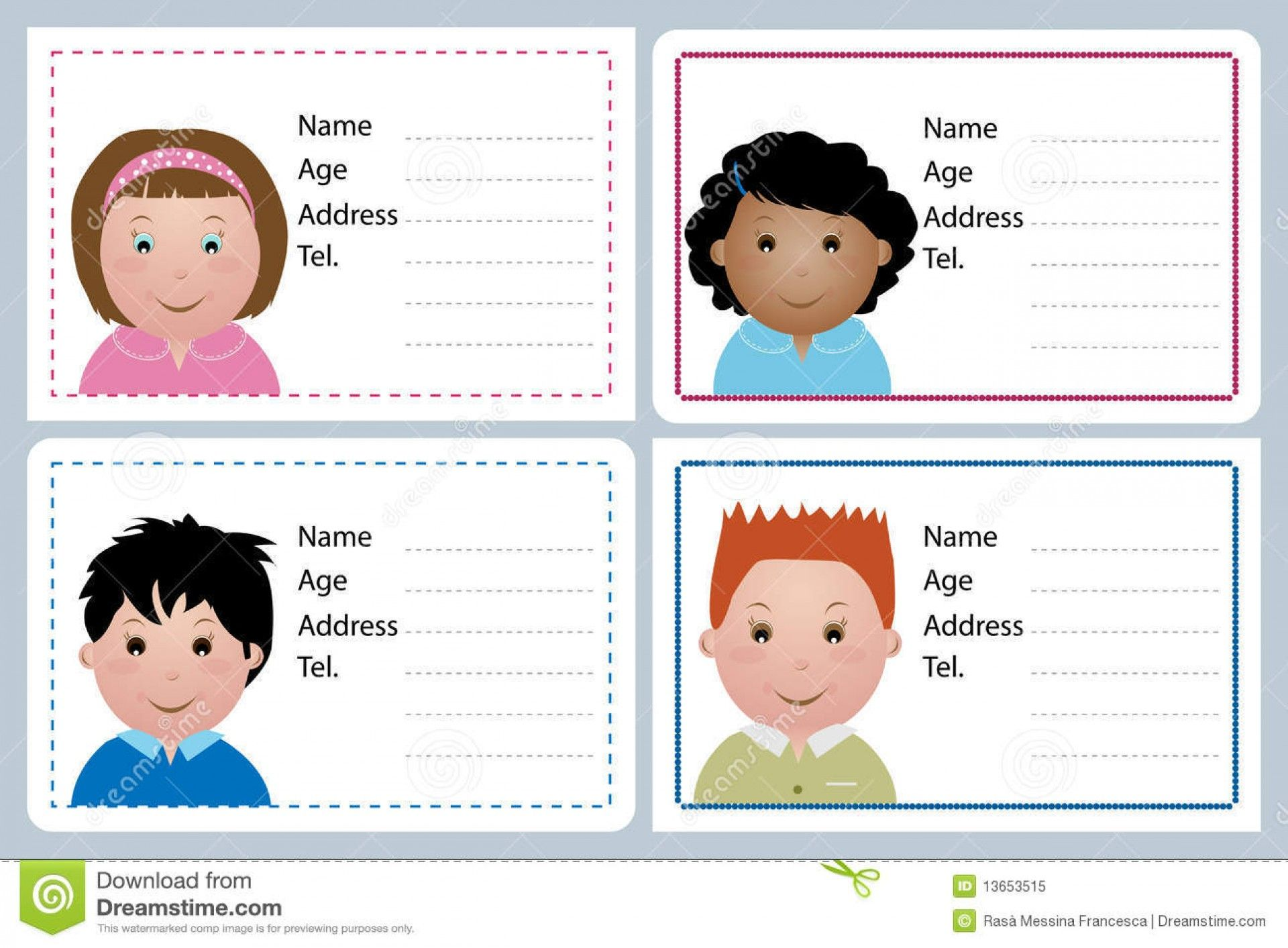 Astounding Child Id Card Template Free Ideas Download With Regard To Id Card Template For Kids Great Id Card Template Free Business Card Templates Name Cards