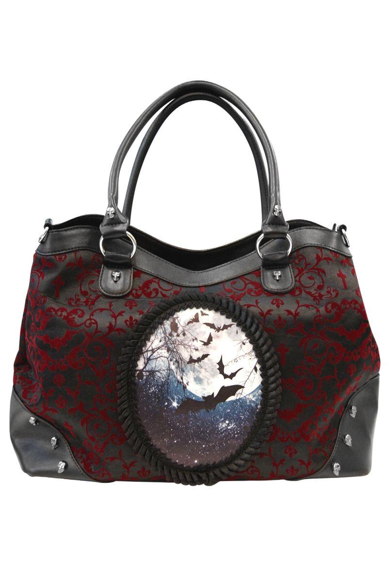 Banned Gothic Skull Roses Faux Leather Lace Shoulder Bag Handbag Halloween Black