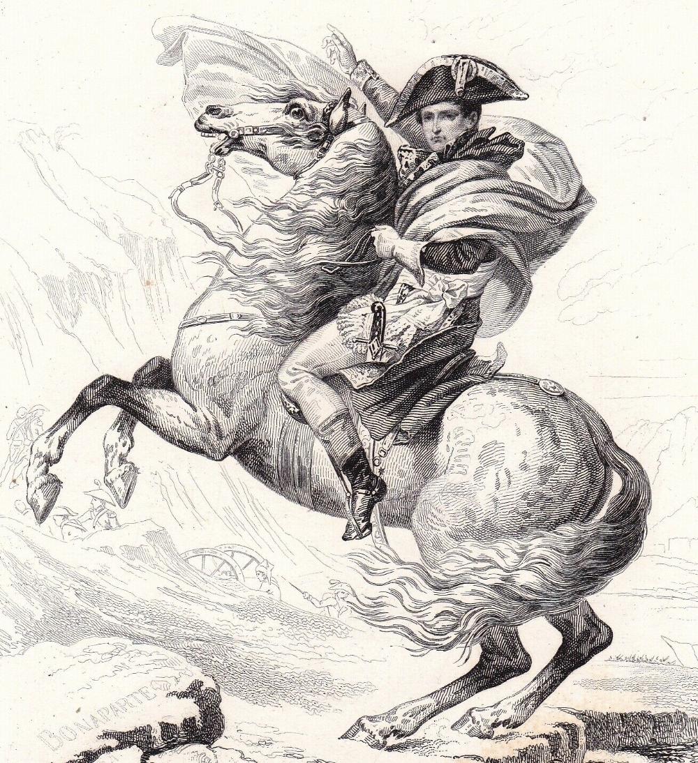 Napoleon Bonaparte Franchissant Le Grand Saint Bernard Jacques Louis David Alpes Ebay Napoleon Bonaparte Art Abstrait Ligne Les Arts