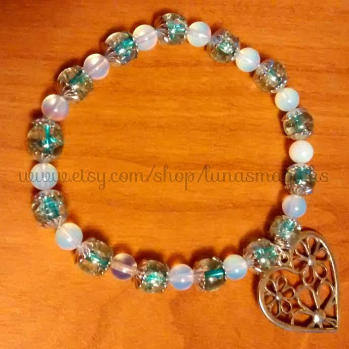 Moonlight Impressions Bracelet - Heart/Key charms - blue - gold - orange - personalize by LunasMagicks on Etsy