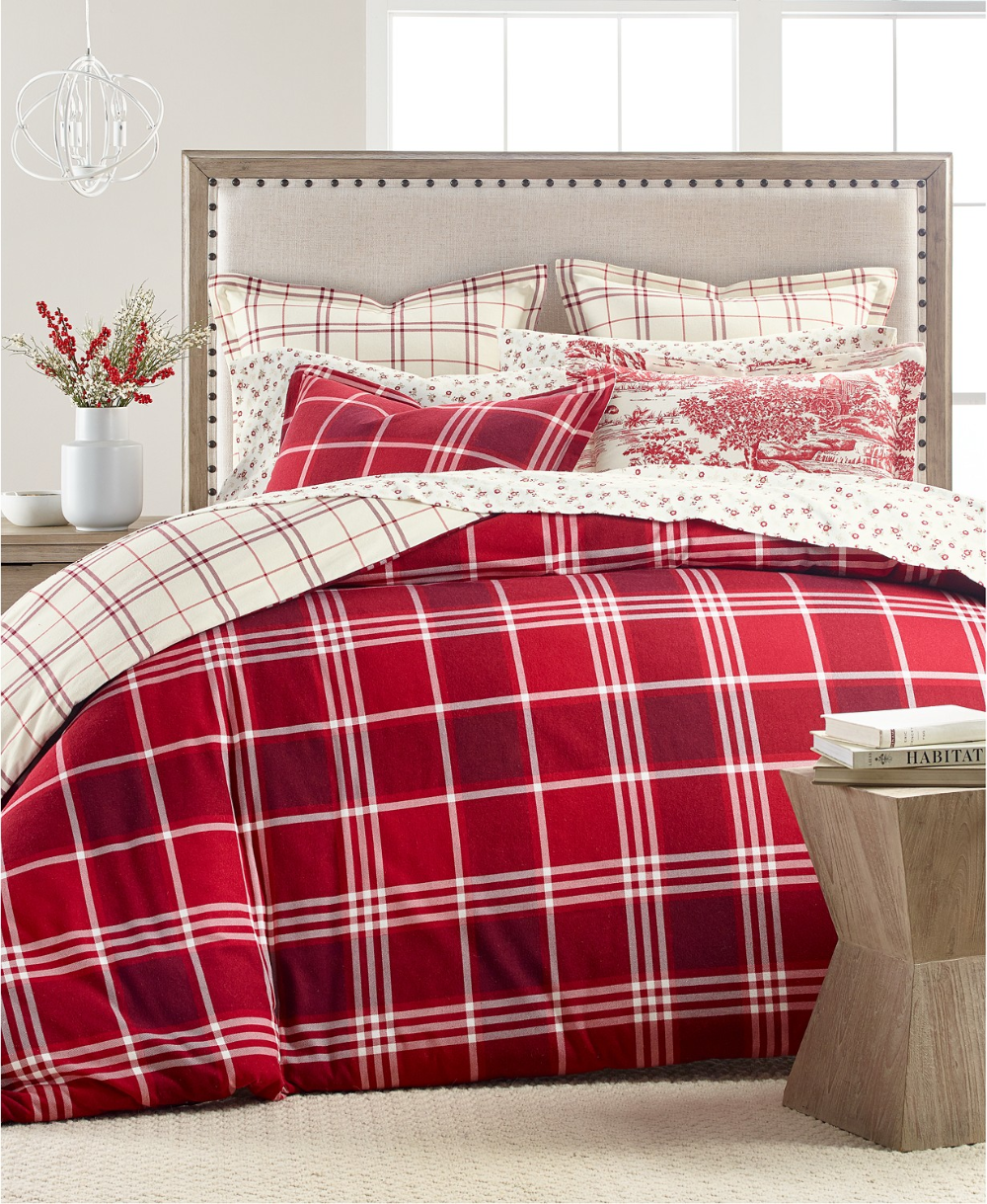 Martha Stewart Collection Ticking Plaid Flannel Bedding Collection Created For Macy S Reviews Bedding Col In 2020 Flannel Bedding Red Duvet Cover King Duvet Cover
