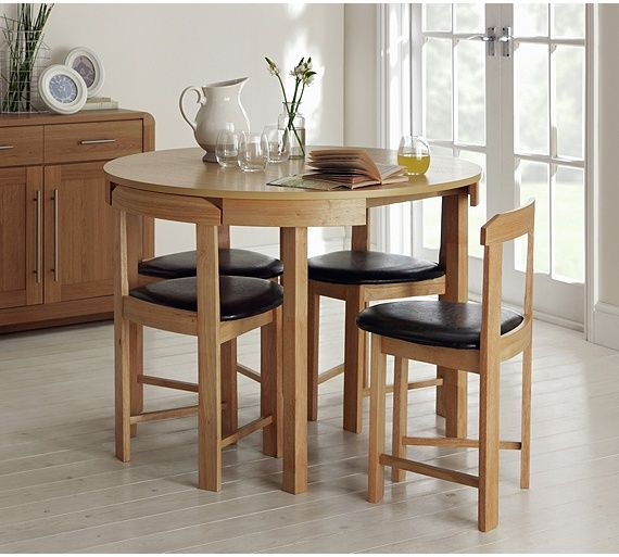 Buy Hygena Alena Circular Dining Table And 4 Chairs Solid Oak At