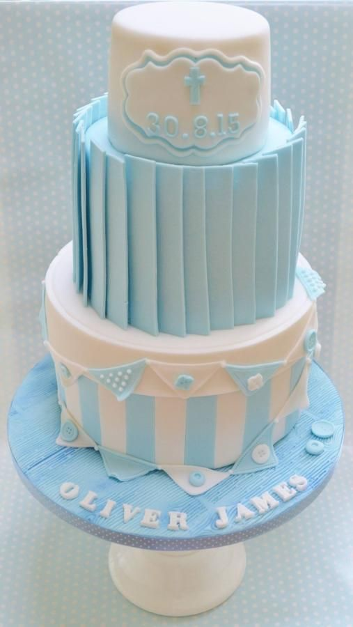 Baby boy christening cake by roo 39 s little cake parlour cakes cake decorating daily - Baby baptism cake ideas ...