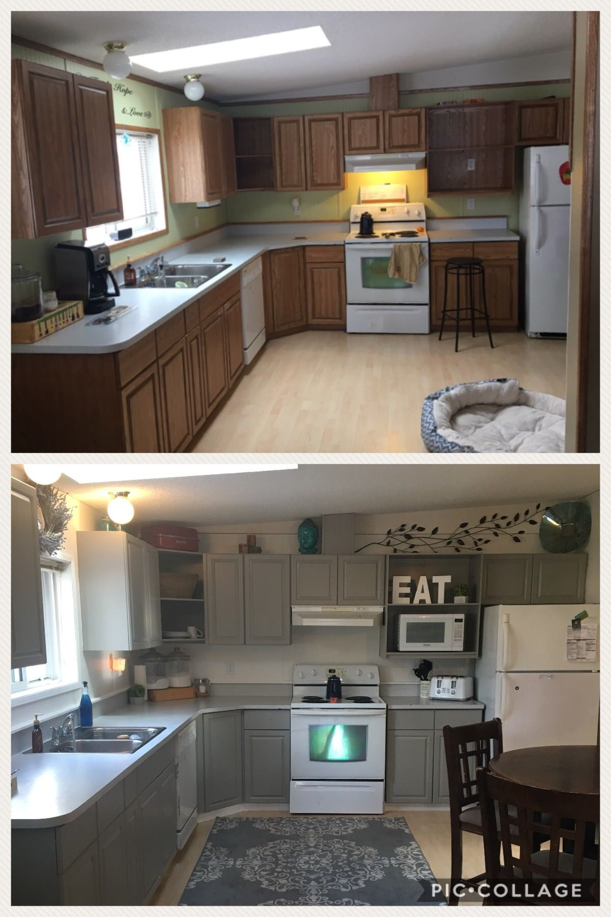 Before And After Painting My Oak Cabinets Prime 1 2 3 Bullseye Paint Is Design Series Dorean Grey Cab Diy Kitchen Remodel Kitchen Remodel Kitchen Renovation