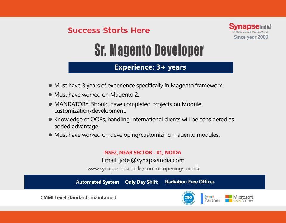 Synapseindia is hiring for sr magento developer