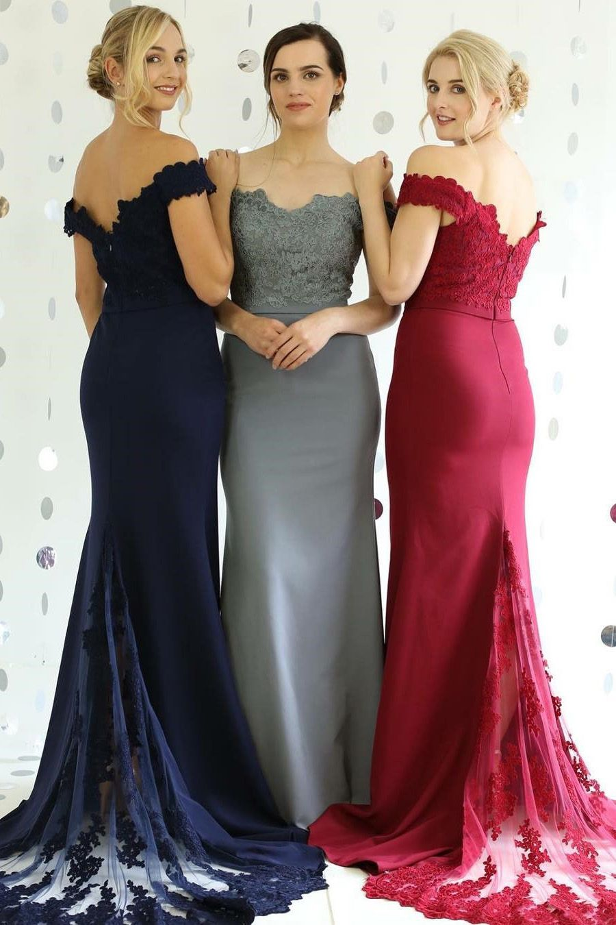 Classic off the shoulder mermaid long navy blue bridesmaid dress