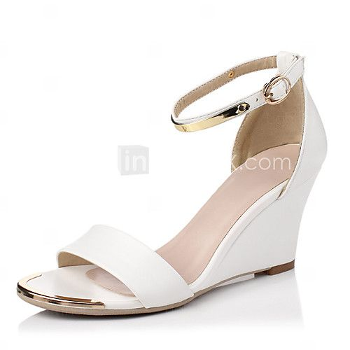Shoes For Women Leather Wedge Heel Wedges Sandals Casual Black Beige