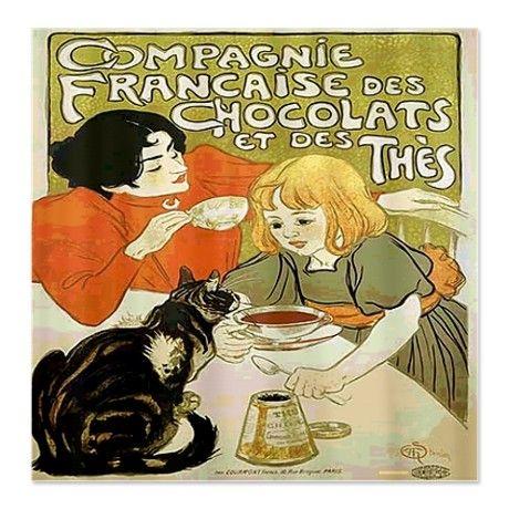 Vintage French Cat Tea Chocolat Shower Curtain
