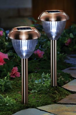 Copper Look Stainless Steel Solar Path Lights 2 Pc Solar Powered Outdoor Lights Solar Lights Garden Solar Path Lights