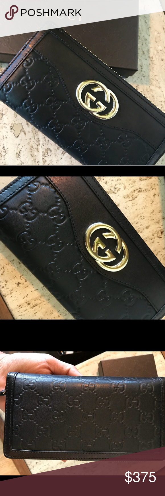 "fbd283df24c3 Gucci Guccissima Sukey ZIP Around Wallet Black embossed leather Light gold  interlocking GG logo and zipper Length 7.5"" Width 1"" Height 4"" Gucci Bags  Wallets"