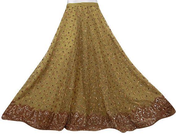 Vintage Net Fabric Hand Beaded Antique Lehenga Skirt Green Bridal Dress Art Deco Women Wrap  - VSK537S