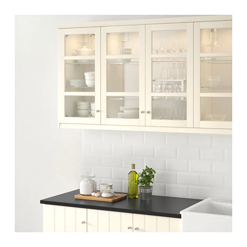 Hittarp Glass Door Off White 18x40 With Images Glass Kitchen Cabinets New Kitchen Cabinets Glass Shelves Kitchen
