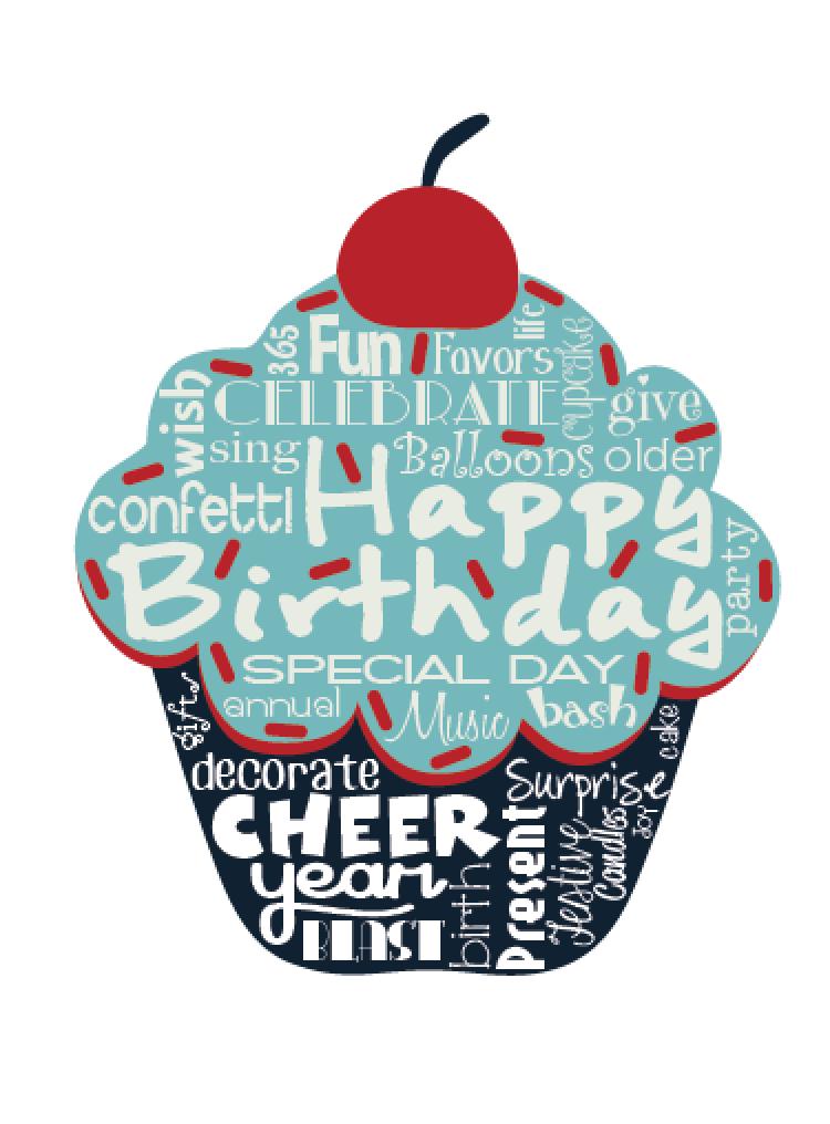 """Original artwork using words to describe """"HAPPY BIRTHDAY ..."""