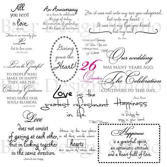 LOVE QUOTES Digital Word Art For Weddings Anniversaries Valentines Day Cards Scrapbooking