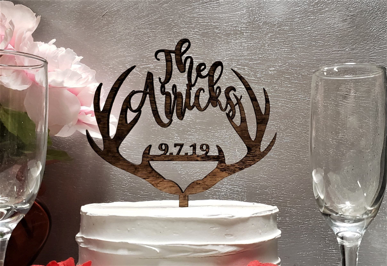 Personalized Antler Wedding Cake Topper Script Name Wedding   Etsy