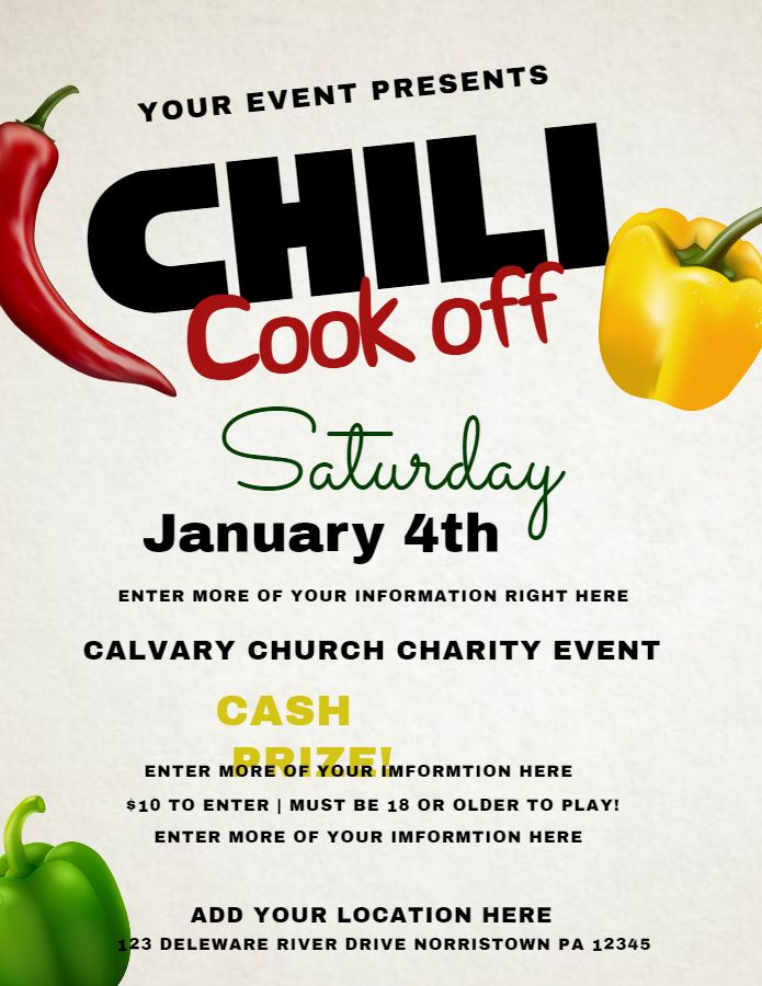 printable chili cook off poster flyer template click to customize