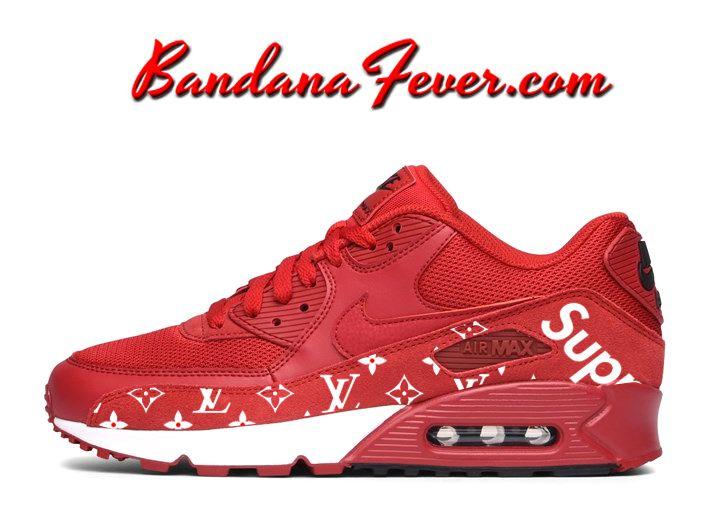 dfc047f842 Custom Supreme Monogram Nike Air Max 90 Shoes Gym Red/White, by Bandana  Fever