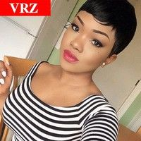 Short Pixie None Lace Human Hair Wigs With Bangs V