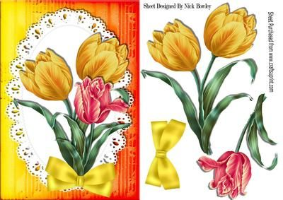 Pretty hand painted red and yellow tulips with bow on Craftsuprint - Add To Basket!