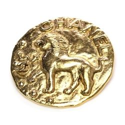 Chanel Vintage Gold-Tone Lion Pin <3