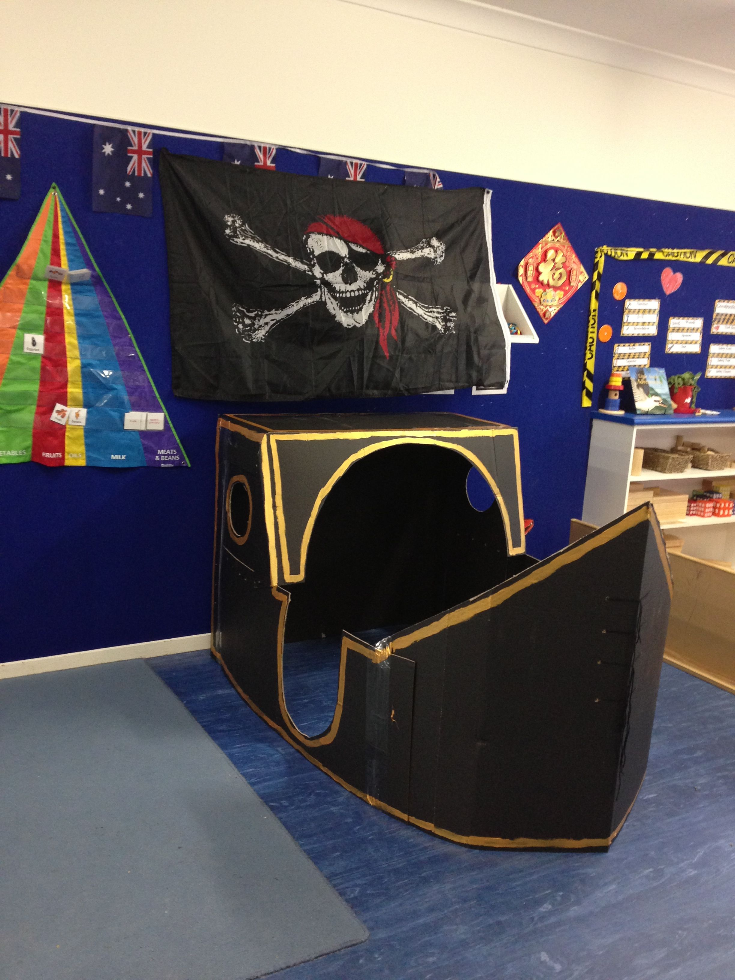 My Pirate Ship Made From Cardboard For Pirate Day