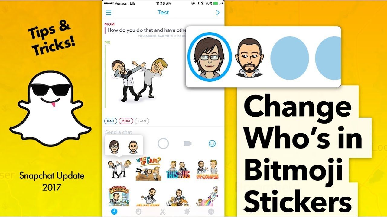 Switch who's in Your Bitmoji Stickers Snapchat YouTube