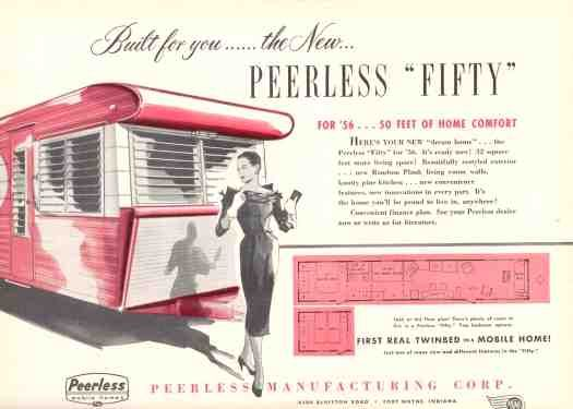 a vintage ad for a peerless mobile home peerless trailers rh pinterest com