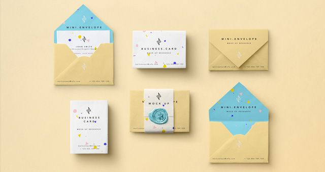 business card envelope template free mini psd mockup mock up