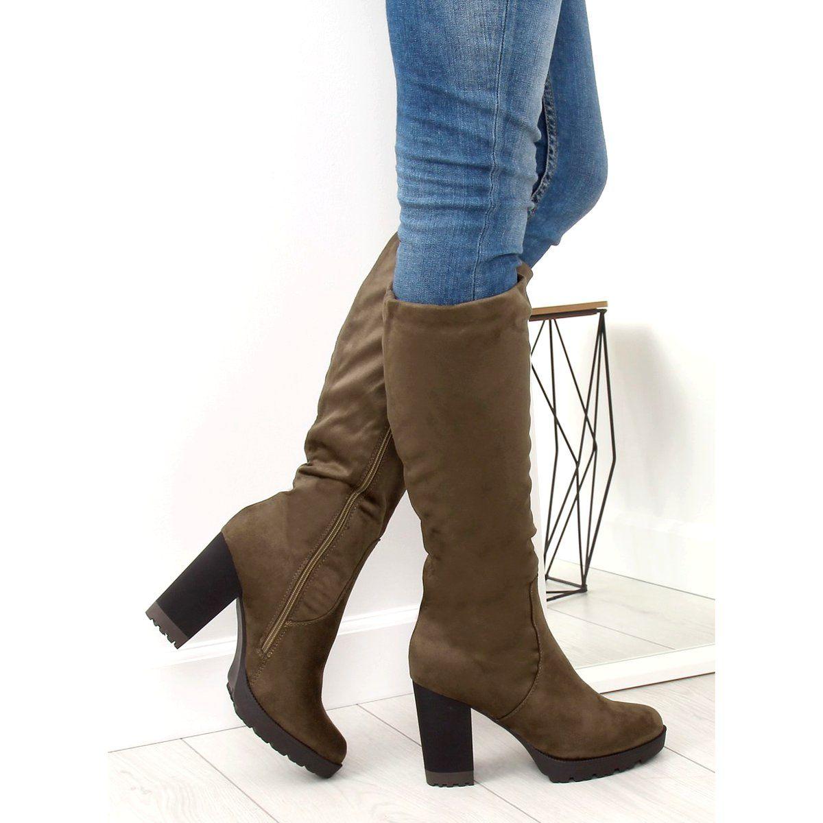 Kozaki Na Obcasie Khaki 7290 Khaki High Heels High Heel Boots Boot Shoes Women